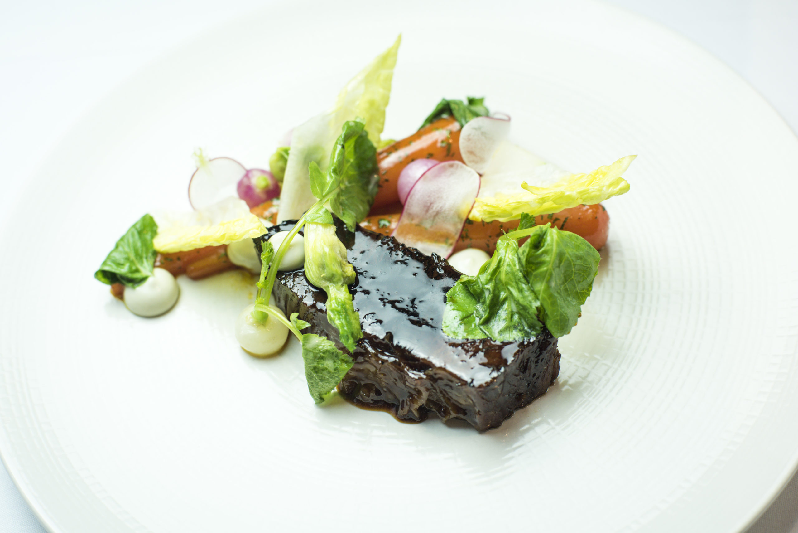Maple brined and braised Irish beef brisket with oyster emulsion