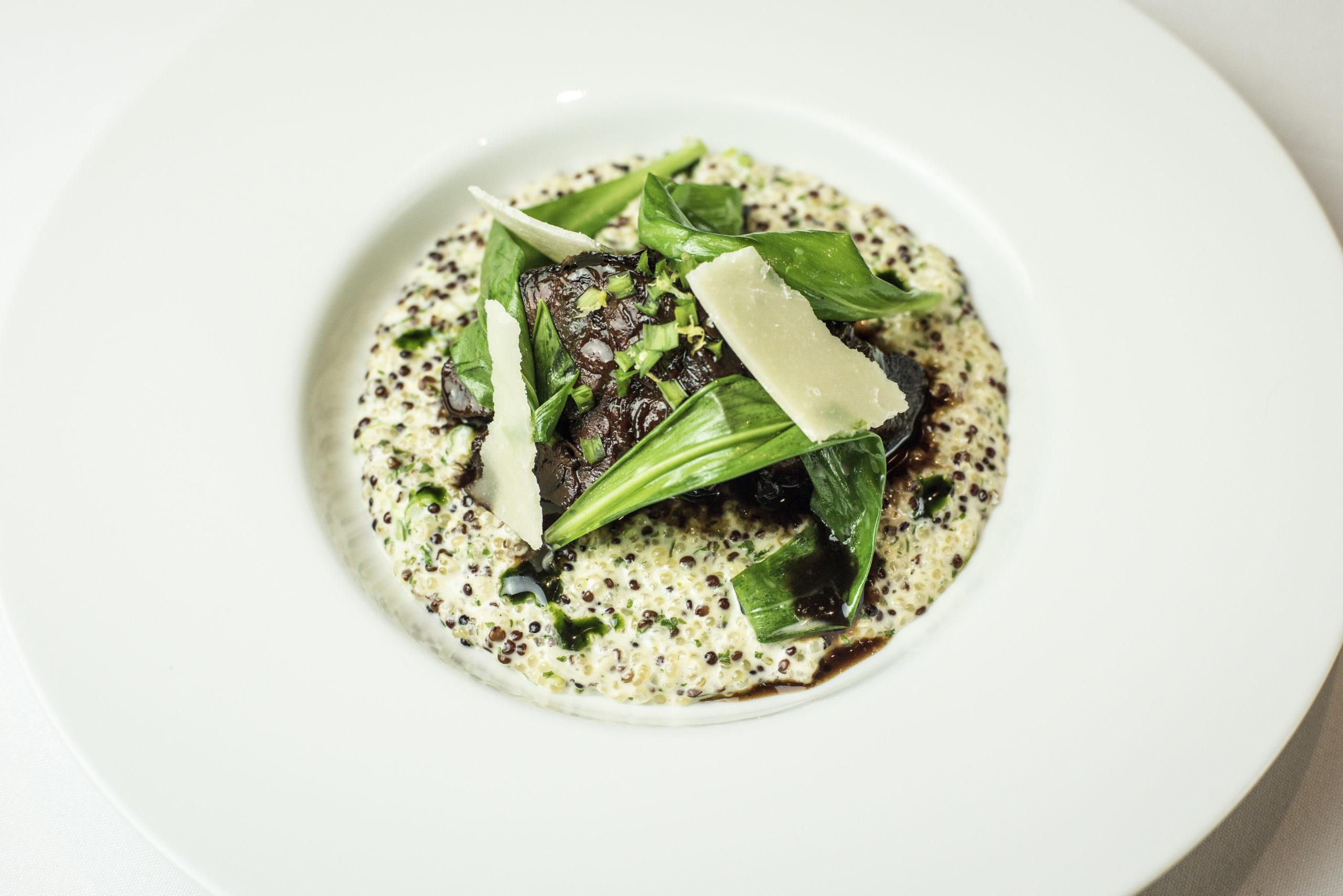 Slow-cooked Irish beef shin with quinoa, wild garlic and Parmesan