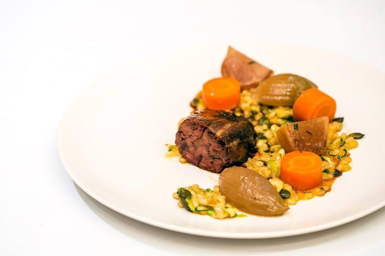 Braised beef shin with pumpkin seed and barley porridge